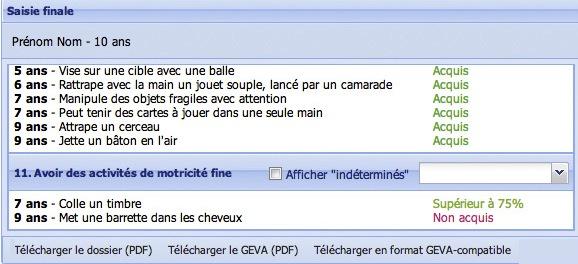 Application PCH enfant : finalisation et export GEVA